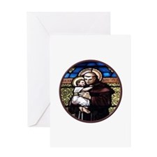 ST. ANTHONY OF PADUA STAINED GLASS WINDOW Greeting