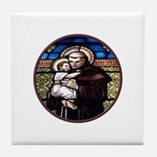 ST. ANTHONY OF PADUA STAINED GLASS WINDOW Tile Coa