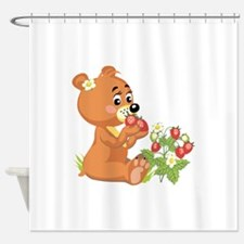 teddy bear eating strawberries.png Shower Curtain