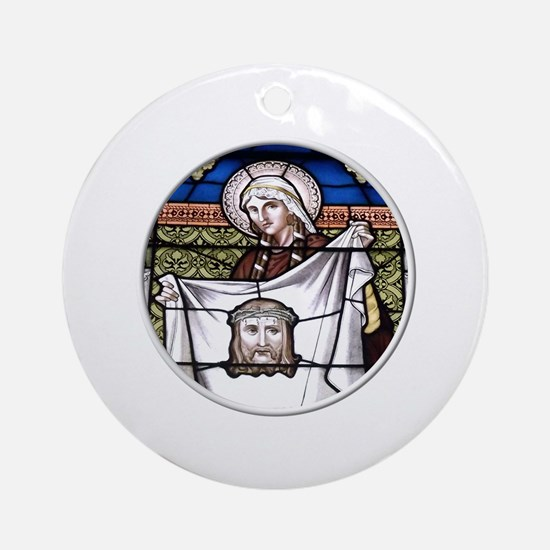 St. Veronica Stained Glass Window Ornament (Round)