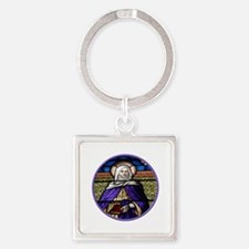 St. Anne Stained Glass Window Square Keychain