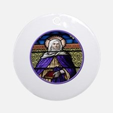 St. Anne Stained Glass Window Ornament (Round)