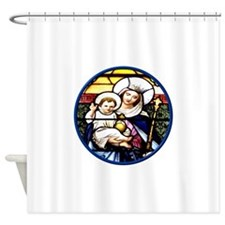Jesus and Mary Stained Glass Window Shower Curtain