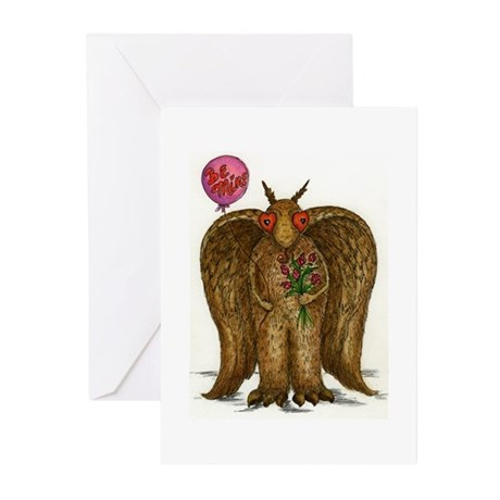 3-Mothman_Val_Front Greeting Cards