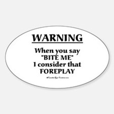 Biting Foreplay Oval Decal