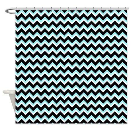 aqua and black chevron shower curtain by be inspired by life