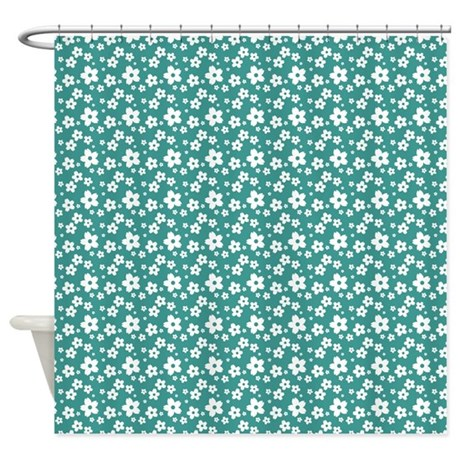 Teal And White Little Flowers Shower Curtain By Be Inspired By Life