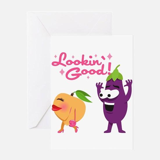 Emoji Eggplant and Peach Lookin' Goo Greeting Card