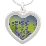Lavender Flowers Silver Heart Necklace