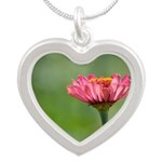 Pink Zinnia Flower Silver Heart Necklace