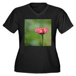 Pink Zinnia T Shirt Women's Plus Size V-Neck Dark
