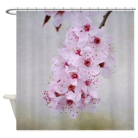 Pink cherry blossom flowers branch shower curtain by be inspired by