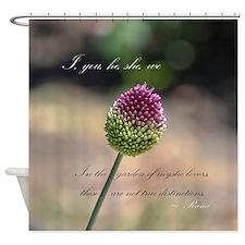 Rumi Pink Clover Flower Shower Curtain