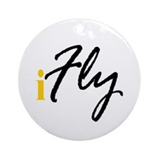 I Fly (black) Ornament (Round)
