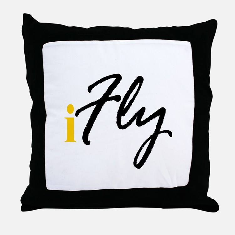 I Fly (black) Throw Pillow