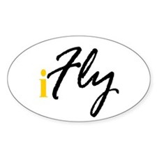 I Fly (black) Oval Decal
