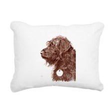 Chocolate Labradoodle 4 Rectangular Canvas Pillow