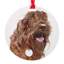 Chocolate Labradoodle3 Round Ornament