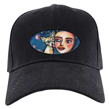 Chihuahua polka dot kiss Black Cap