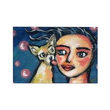 Chihuahua polka dot kiss Rectangle Magnet