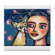 Chihuahua polka dot kiss Tile Coaster