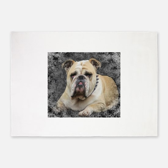 Dogs, english bulldogge, grim looki 5'x7'Area Rug
