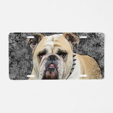 Dogs, english bulldogge, gr Aluminum License Plate
