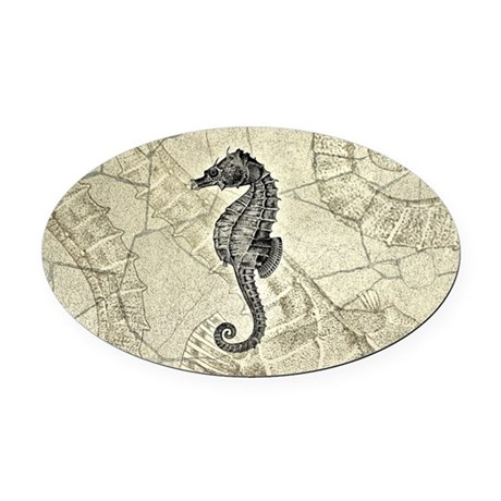 Seahorse Oval Car Magnet