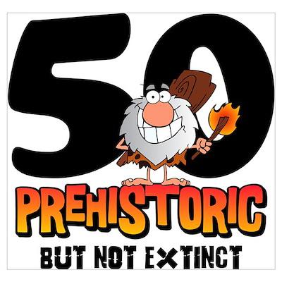 Prehistoric 50th Birthday Wall Art Poster