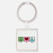 Peace Love Sharks Square Keychain