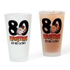 Prehistoric 80th Birthday Drinking Glass