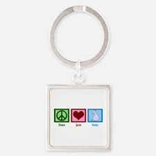 Peace Love Goats Square Keychain