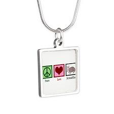 Peace Love Armadillos Silver Square Necklace