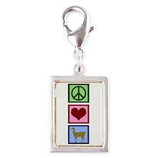 Peace Love Llamas Silver Portrait Charm