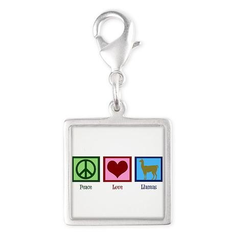 Peace Love Llamas Silver Square Charm