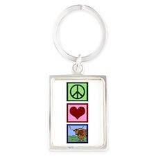 Peace Love Longhorns Portrait Keychain