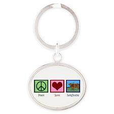 Peace Love Longhorns Oval Keychain