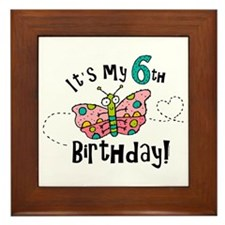 Butterfly Birthday Sixth Framed Tile
