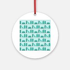 Books on Bookshelf, Teal. Ornament (Round)