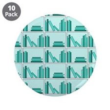 "Books on Bookshelf, Teal. 3.5"" Button (10 pack)"