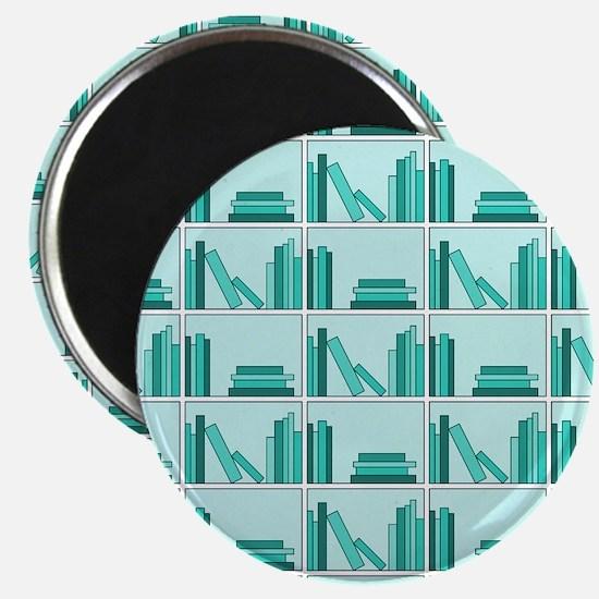 Books on Bookshelf, Teal. Magnet
