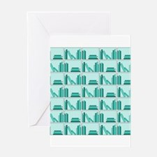 Books on Bookshelf, Teal. Greeting Card