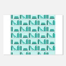 Books on Bookshelf, Teal. Postcards (Package of 8)