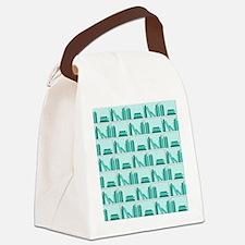 Books on Bookshelf, Teal. Canvas Lunch Bag