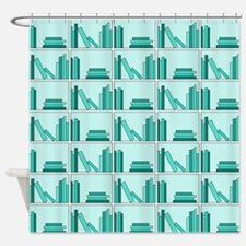 Books on Bookshelf, Teal. Shower Curtain