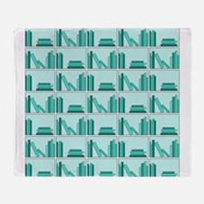 Books on Bookshelf, Teal. Throw Blanket