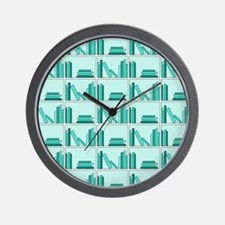 Books on Bookshelf, Teal. Wall Clock
