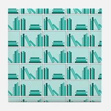 Books on Bookshelf, Teal. Tile Coaster