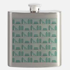 Books on Bookshelf, Teal. Flask