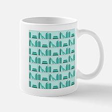 Books on Bookshelf, Teal. Mug